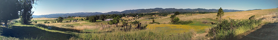 panorama of a scenic country vista with golden hills and green fields.